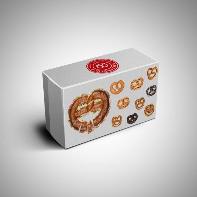 Eine Box, prall gefüllt mit leckeren und frischen Brezeln.